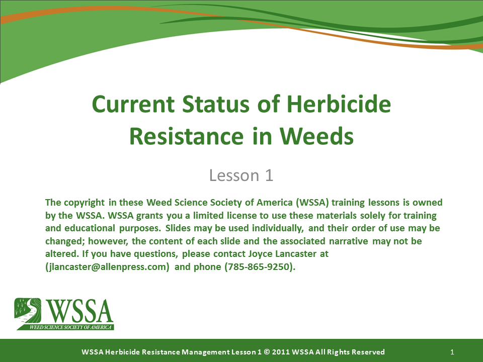 WSSA Lesson1 Slide1 - Herbicide-resistant Weeds Training Lessons