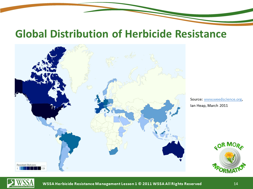 WSSA Lesson1 Slide14 - Current Status of Herbicide Resistance in Weeds