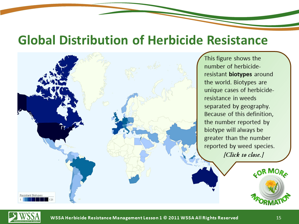 WSSA Lesson1 Slide15 - Current Status of Herbicide Resistance in Weeds
