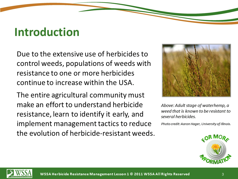 WSSA Lesson1 Slide3 - Current Status of Herbicide Resistance in Weeds