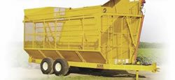 The boll buggy is used to transport harvested cotton between the harvester operating in the field and the module builder located at the edge of the field. (Photo courtesy of KBH, Inc.)